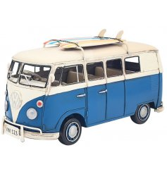 Set with a vintage inspired finish and blue tone, this Volkswagen Camper ornament is a must for any avid collector