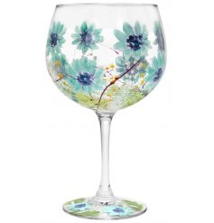 this hand finished Gin Glass also displays charming pops of colour within the floral design