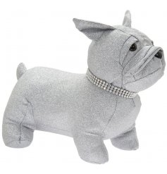 a silver glittery Frenchie doorstop that also has a bling collar for added sparkle