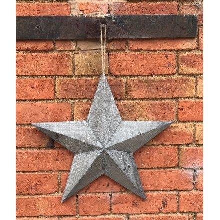 19cm Rustic Wooden Barn Star