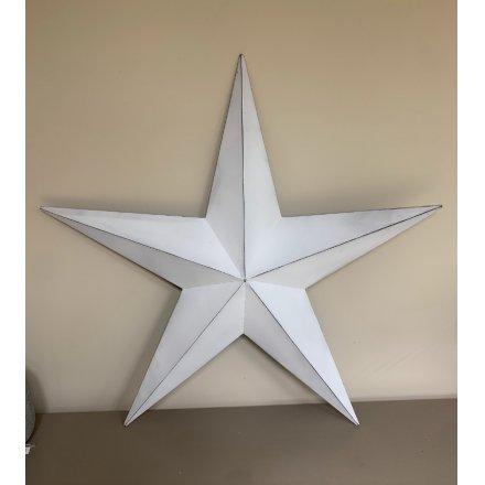 100cm Metal Barn Star, White