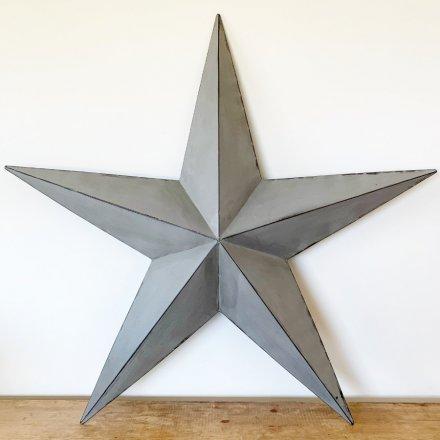 100cm Metal Barn Star, Grey