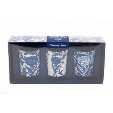 Floral White & Blue Votive Candle Set