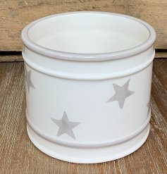 A charmingly simple round ceramic pot featuring a faded grey star decal around it