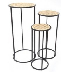 Perfect for bringing an on-trend hint to your home, an assorted sized set of standing tables set with woven rattan tops