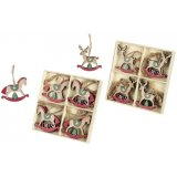Green and red toned hanging reindeer and horse decorations , each in their own assorted packs