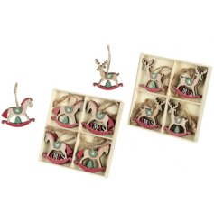 A traditional and festive themed assortment of Rocking Reindeer and Horse decorations
