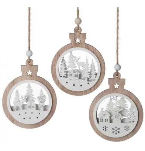 Assorted by different woodland scenes, a mix of natural wood hanging bauble like decorations