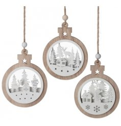 A beautiful assortment of natural wooden bauble inspired decorations, each set with its own winter white cut scene