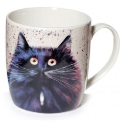 A quirky fine China Mug featuring a wide eyed fuzzy black cat illustration to it