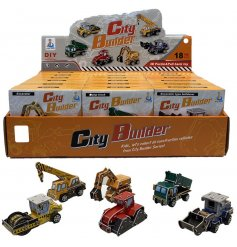 A mix of cool looking pull back trucks that you can build yourself, perfect little pocket money toys for kids