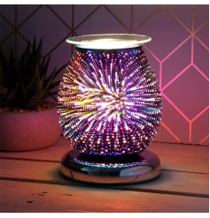 Sure to improve the ambience of any home setting, a brightly illuminated Desire Aroma Lamp covered with a 3D Starburst