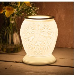 A white ceramic based aroma lamp complete with an embossed Bees and honeycomb decal and an added dipped dish top for oil