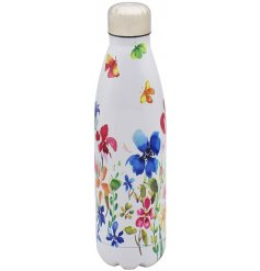 A sturdy metal water bottle featuring a bright and cheerful butterfly meadow decal and screw top cap
