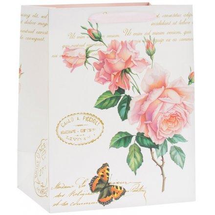 Large Pink Rose Giftbag, 33cm