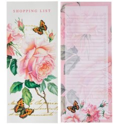 A pretty pink toned shopping list set with added floral decals and fluttering butterflies
