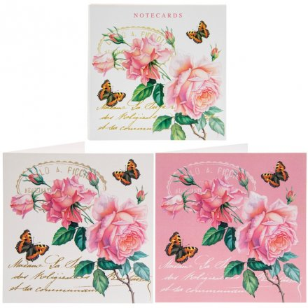 Pink Rose Square Note Cards