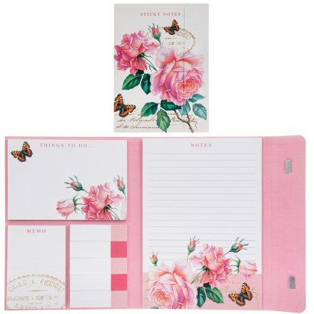 Pink Rose Sticky Notes Pack