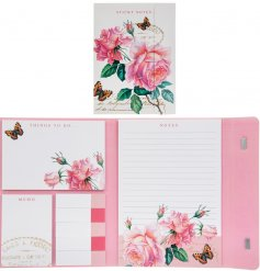 this pretty pink themed organiser is full of assorted sized and shaped stick notes for all memos and reminders