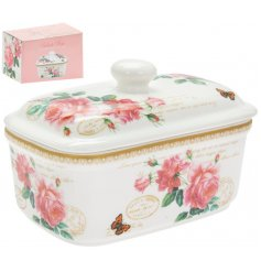 A sleek fine china butterdish featuring a beautiful Pink Rose decal with added butterflies and scripted text decals