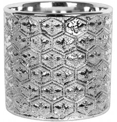 Sure to bring a Vintage Luxe edge to any home space, a charming silver toned Ceramic pot with a bold embossment to it