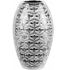 A gorgeously luxe themed ceramic Vase featuring a rustic silver tone and embossed honeycomb and bee embossment