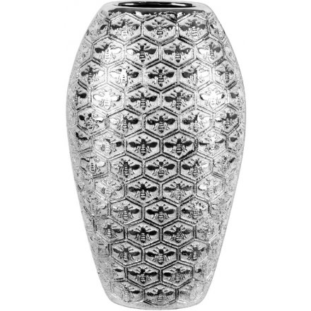 Large Silver Honeycomb Embossed Vase
