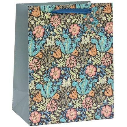 Deep Blue Floral Gift Bag, 33cm