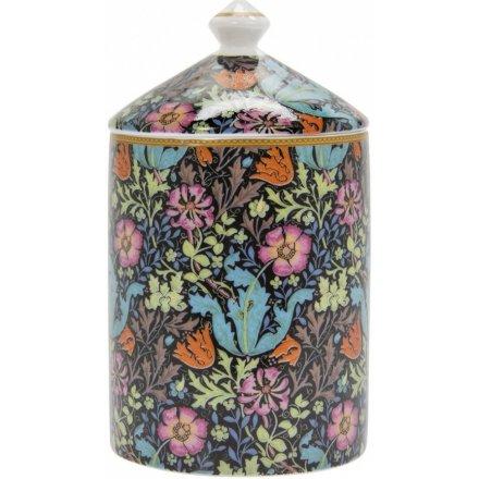 Deep Blue Floral Candle Jar, 15cm