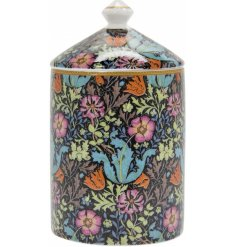 A beautifully decorated china candle jar filled with a luscious wax centre