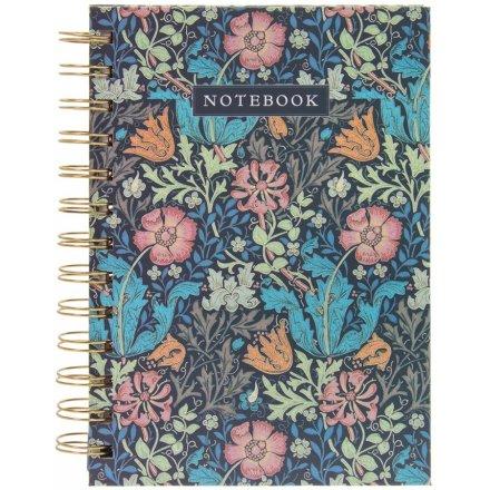 Deep Blue Floral Notebook, A6