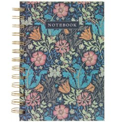 A handy little hand back note book with a delicate deep toned floral feature, filled with lined pages