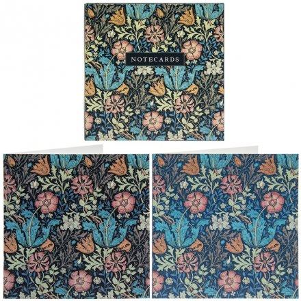 Deep Blue Floral Notecards, 15cm