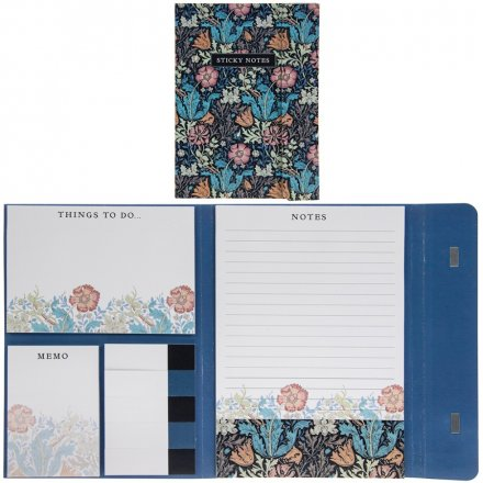 Deep Blue Floral Sticky Note Set
