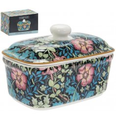 A sleek fine china butterdish featuring a beautiful deep toned floral decal, Perfect for bringing a vintage charm to y