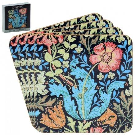 Deep Blue Floral Set of Cork Coasters