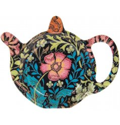 A sleek plastic teabag tidy featuring a beautiful deep toned floral decal, Perfect for bringing a vintage charm to your