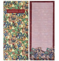 An slim shopping list book set with a beautiful golden lily decal across the front