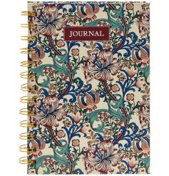 A handy little note book filled with lined pages, with a delicate floral feature to each