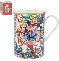 Made up of reds, blues and green tones, this sleek china mug will be sure to add a Whimsical inspired feature to any k