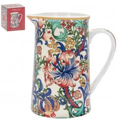 Made up of reds, blues and green tones, this sleek china Jug will be sure to add a Whimsical inspired feature to any ki