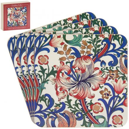 Set of Red, Blue & Green Lily Coasters