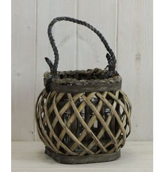 A small rounded lantern featuring a lattice willow decal and chunky rope handle
