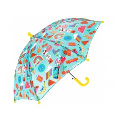 Covered in a fun and bright Top Banana print, this fun umbrella will be just what your little ones need to stay dry whil