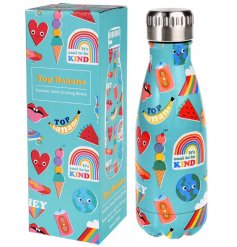 Covered in a fun and bright Top Banana print, this quirky metal drinks bottle will be just what you need when out on a c