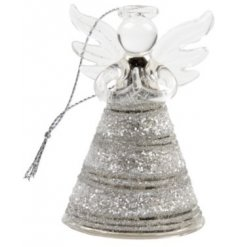 A hanging glass angel, sure to add a bright twinkle to your tree decor