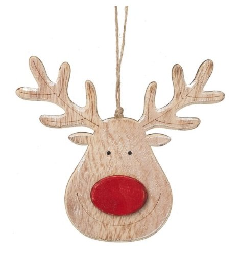 A hanging natural wooden reindeer with a festive red nose decal