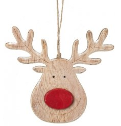 A festive themed hanging wooden reindeer featuring a bright red nose