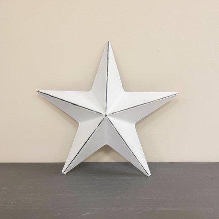 White Metal Barn Star, 20cm