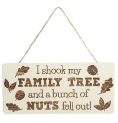 A quirky and comical wooden plaque with added Country Charm accents and a Family Tree printed text decal